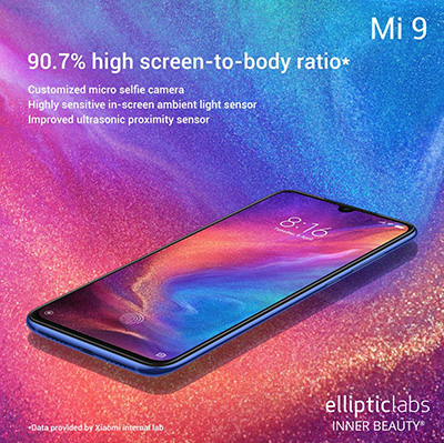 New Xiaomi Mi 9 and Mi 9 SE Smartphones Use Elliptic Labs' Virtual Proximity Sensor for Cleaner Design